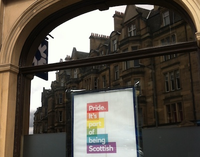 Window of local RBS branch, with Pride poster