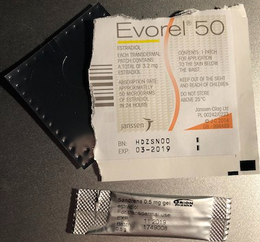 Evorel 50 patch and Sandrena gel sachet