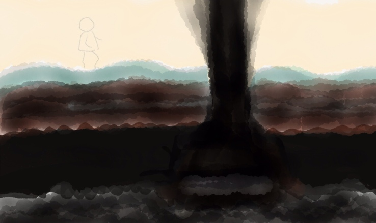 Person walking above ground, with a cave beneath them, and a shaft of darkness emanating from a hole in the cave roof ahead of the person
