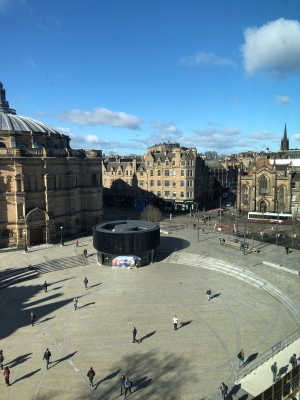 View of Bristol Square and the McEwan Hall, Edinburgh University, from the Dugald Stewart Building on a sunny February day