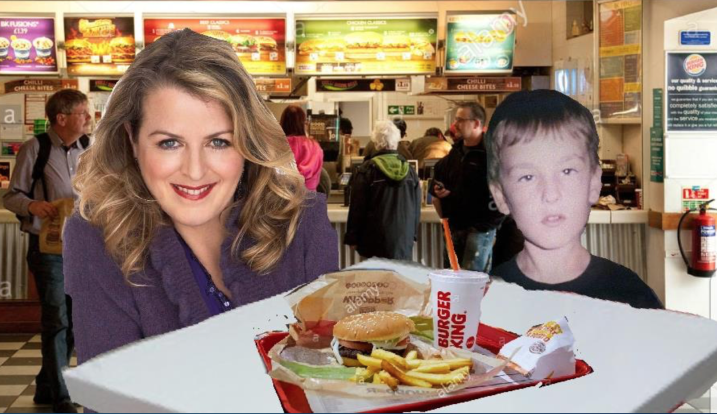 A cut-and-paste collage of a stock image of a Burger King interior with a young Dean and his mum inserted behind a table